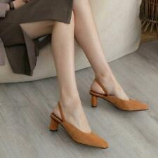 Womens New Fashion Suede Leather Square Toe Block Heel Slingback Court Shoes  sz