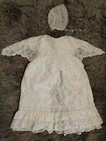 Vintage/Antique Heirloom Handmade Ivory Baby Dress, Matching Hand Crocheted Cap