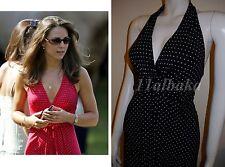 Vintage Rare NEW LOOK BLACK WHITE POLKA DOT SUMMER HALTERNECK SUN DRESS UK8
