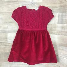 Hanna Andersson Girls Cable Knit Sweater Christmas Red 90/3 3T Velvet Party