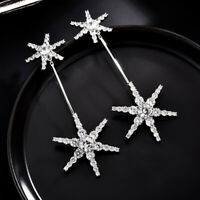 Earrings Nails Long Art Deco Two Big Star Cz Gold Plated White G11 C