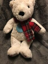 Cloud B Dreamy Hugginz Plush Toy Holiday Bear Very Soft White/Scarf..approx 13""