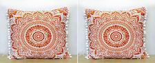 "16"" Square Indian Orange Ombre Sofa Decorative 2 Piece Cushion Pillow Covers Set"