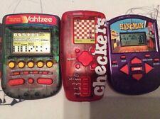 Yahtzee MB 1995, Hangman MB 2002 Hasbro, and Checkers Radica:1998 Handheld LOT