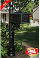Gibraltar Mailboxes Stratford Decorative Plastic Mailbox Post Combination, Black