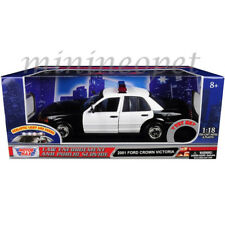 MOTORMAX 73991 2001 FORD CROWN VICTORIA 1/18 w LIGHTS & SOUND BLACK WHITE
