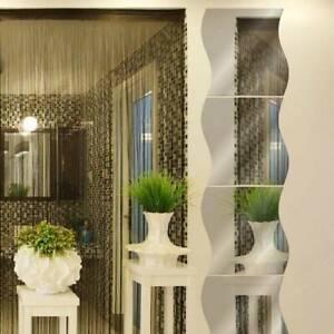 Self Adhesive Wavy Shaped Mirror Tiles Walls Sticker Decal Home 6pcs/Set Decor