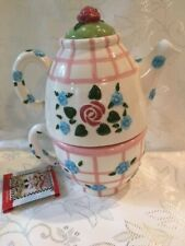 Vintage Mary Engelbreit 1998 Stacked Tea Pot Ceramic Pink-Green Roses-With Tag