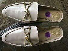 Vince Camuto Women's Nude Tan Leather  Slides Mules Slip On Loafers Size 8,5 NEW