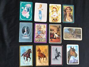 Lot of 12 X Vintage Swap / Playing Cards - People /  Horses / Ladies