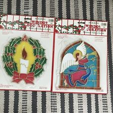 Vintage plastic stained glass Christmas Window decoration Suncatcher