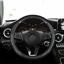 For 38cm Auto Car Carbon Fiber Leather Steering Wheel Cover Black Non-slip DIY