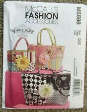 McCall's Fashion Accessories Pattern M5598 TOTE BAGS Uncut