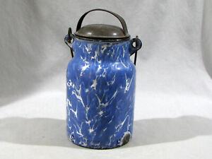 Antique BLUE SWIRL GRANITE WARE MILK CAN