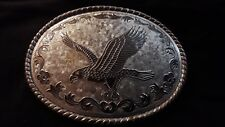 Gürtelschnalle Adler silber auf Platte Made in USA