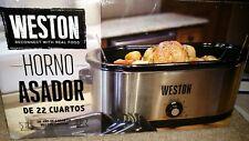 Large 22Quart Roaster Oven Electric Slow Cooker Turkey Roasting Crock Pot Silver