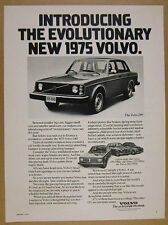 1975 Volvo 244 Sedan 'Evolutionary' car photo vintage print Ad