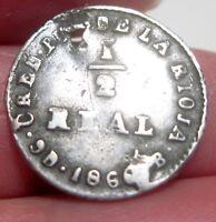 1860- B (ARGENTINA) 1/2 REAL (SILVER) CONFEDARATION ---very RARE ,RARE,RARE,RARE