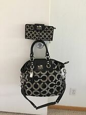 Authentic Coach Madison Julianne Gray Black Op Art Large Handbag With Wallet