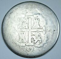 Venezuela 1819 Caracas Silver 2 Reales Old Spanish Colonial Antique Two Bit Coin
