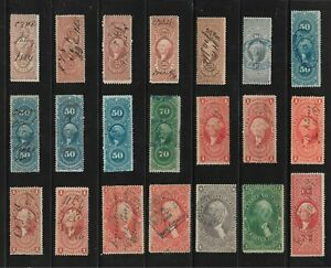 US Revenue Stamps: First Issue, Perf. (1862-71); 1c - $5 Denominations; 41 Diff.