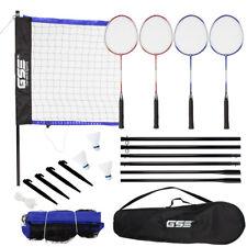 Indoor/Outdoor Portable Complete Badminton Set w/Net, 4 Rackets & 3 Shuttlecocks