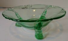 """Vintage Heisey EMPRESS GREEN  DOLPHIN FOOTED Depression NUT DISH BOWL 6"""" LOOK!"""