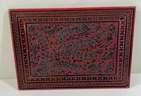 Vintage Lacquerware Tray Red with Black raised Lacquer Design Branch Birds RETRO