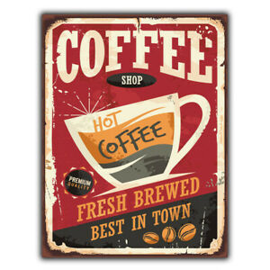 METAL SIGN WALL PLAQUE COFFEE Shop Hot Coffee Sign Retro style METAL print