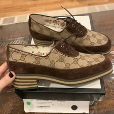 NWT Authentic GUCCI GG Logo Monogram Shoes Loafers  brown size 36