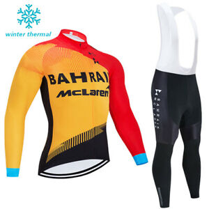2021 Winter Cycling Fleece Men Jersey Thermal Bike Racing Bib Pants Kits Set MTB