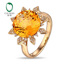14k Yellow Gold 7.01 Natural Citrine & 0.13ct Full Cut Diamond Sun Ring Jewelry