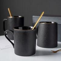 """Black Secret"" Modern Ceramic Mug with Lid Spoon Coffee Cups Home Office Mugcup"