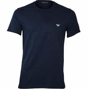 Emporio Armani Eagle Logo Crew-Neck Men's T-Shirt, Navy/silver