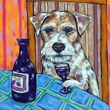 jack Russell terrier dog wine art tile coaster gift orange background