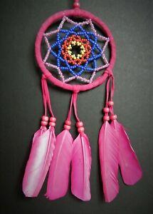 Pink dream catcher 9 x 30 cm beautiful bead dreamcatcher fair trade girls gift