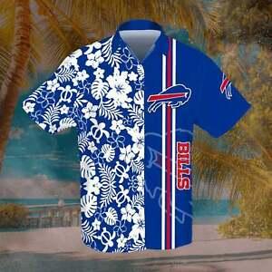 Buffalo Bills Men's Hawaiian Shirts Casual Beach Blouse Button Down Tops Gifts