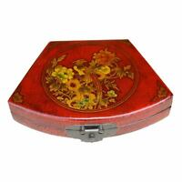Chinese Decoration Box - Red Hand Made Flower Fan Shape Box New