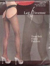 LEG AVENUE - Sexy Fishnet Thong Back Tights - 1403 - RED - One Size BNIP