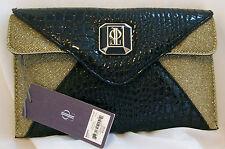 Womens Black Faux Snake Gold Jennifer Lopez Purse Handbag Shoulderbag Clutch NWT