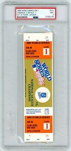 1985 Game 1 World Series Full Ticket PSA 9  Brett Saberhagen MVP George Brett RC