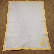 Vintage Thermal Triboro Baby Crib Blanket Cotton Trim Factory Yellow Giraffe