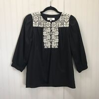 Tibi New York Sz 4 Women's Black Embroidered Neck Details Blouse 3/4 Sleeves