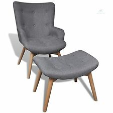 Retro Fabric Armchair With Stool Footrest Relaxing Seat Living Room Chair Grey