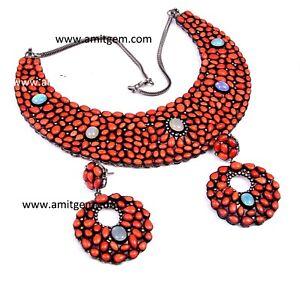 925 Silver Diamond Coral Fire Opal Earring Necklace Jewelry Set -14