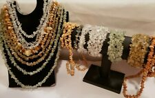 Lot of 11 Genuine Semi-Precious Stone Chip Necklaces Bracelets Quartz Aventurine