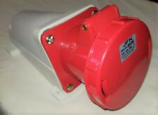 63 amp socket wall mount 5 pin 380/415 volt IP67 3 phase neutral and earth
