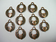 Antique Copper plated Heart Wing Charms Drops Pendant - 10
