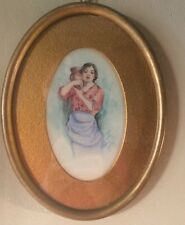 Oval Vintage Original Water Color Painting Woman Vase Signed Howley