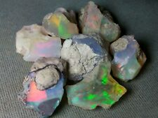 45,8 cts - Beautiful Opal Rough Ethiopian Multicolor Flash Fire - 7 pieces